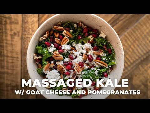 Massaged Kale salad with goat cheese and pomegranates   The Hangry Woman