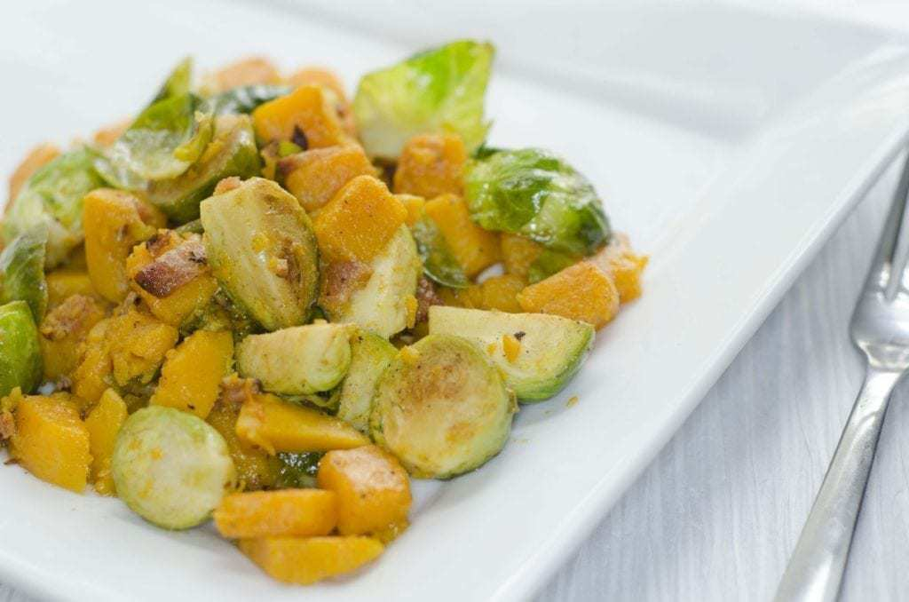 Brussels Sprouts, Butternut Squash, Bacon Salad.