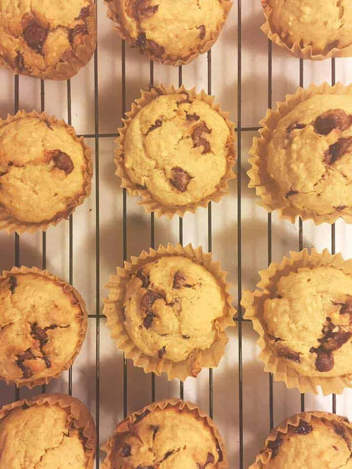 Chocolate Chip and Almond Banana Muffins