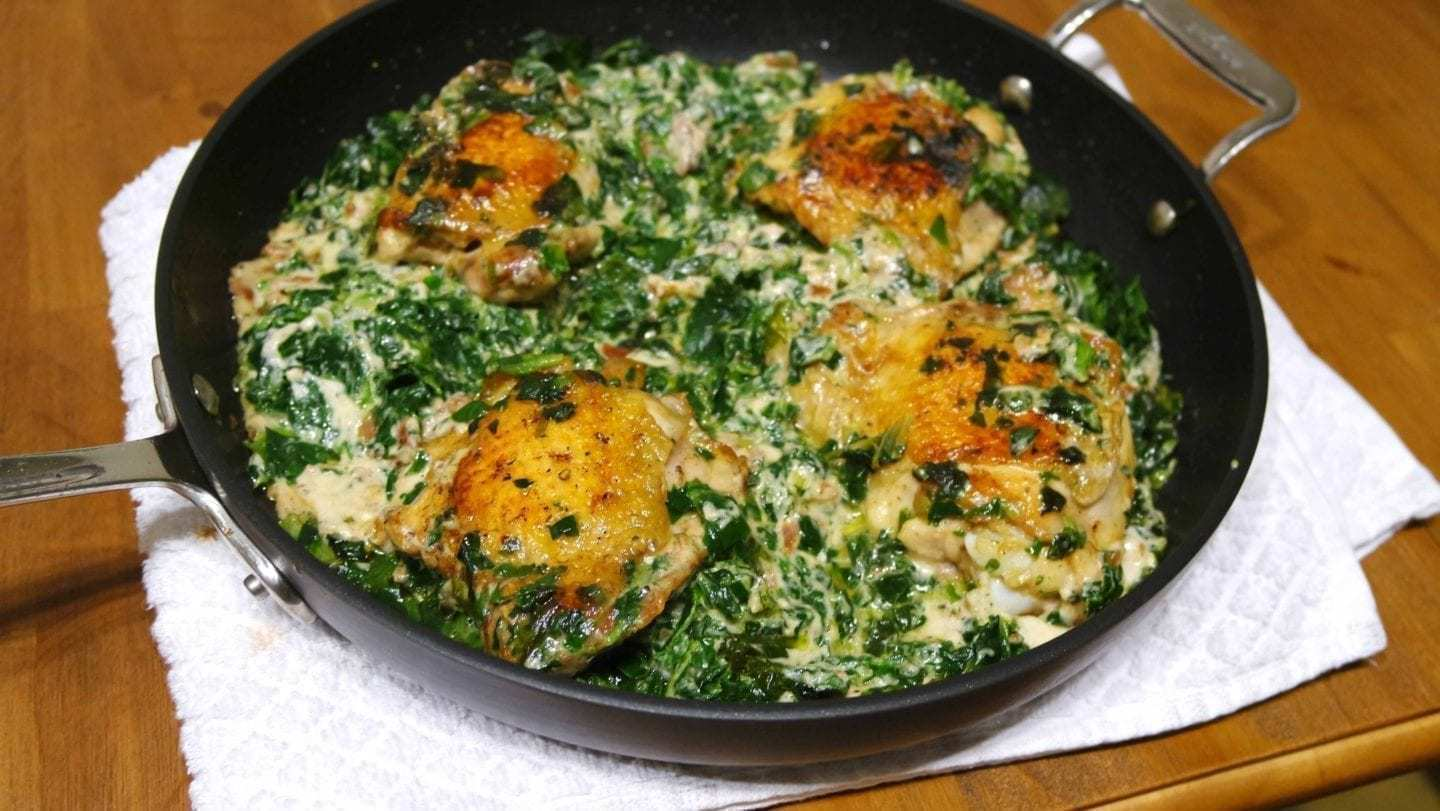 Garlic Parmesan Creamed Spinach and Pan Roasted Chicken [Keto Friendly]