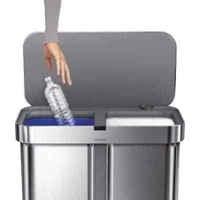 simplehuman 58 Liter/15.3 Gallon Stainless Steel Touch-Free Dual Compartment Rectangular Kitchen Trash Can Recycler Motion Sensor, Voice Activated