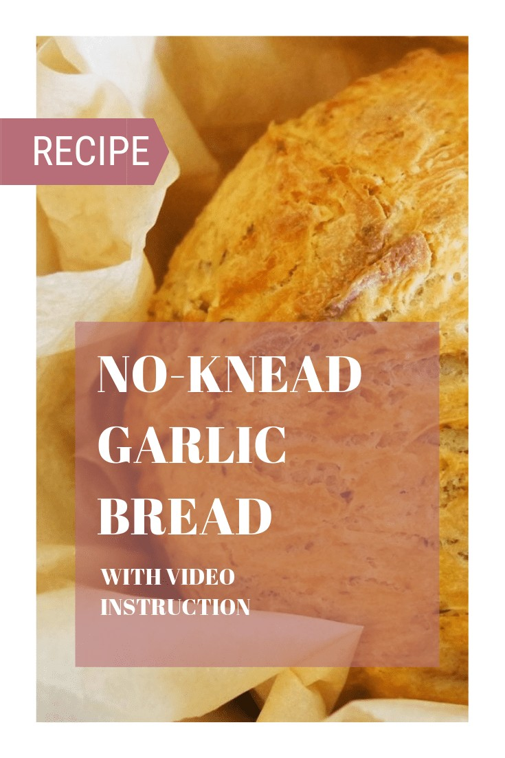 A no-knead garlic bread recipe that will have you constantly making your own bread at home. A simple, easy, and quick recipe with a video included.