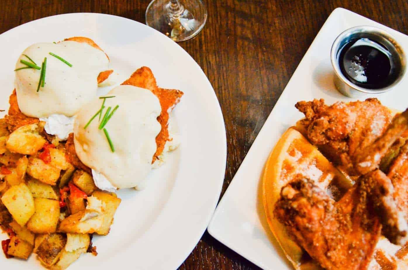 Max's honey butter chicken benedict and wings & waffles
