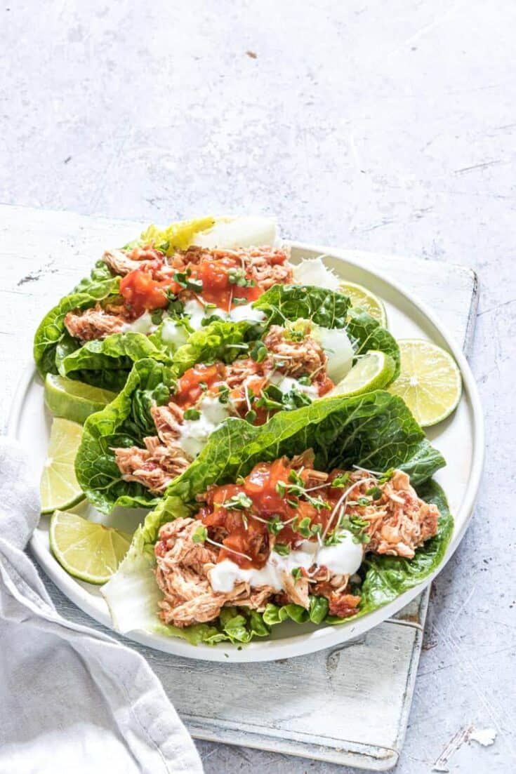 Instant Pot Salsa Chicken Lettuce Wraps