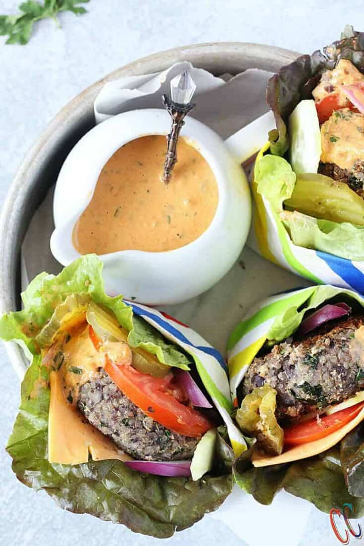 Low Carb Black Bean Quinoa Bunless Burger