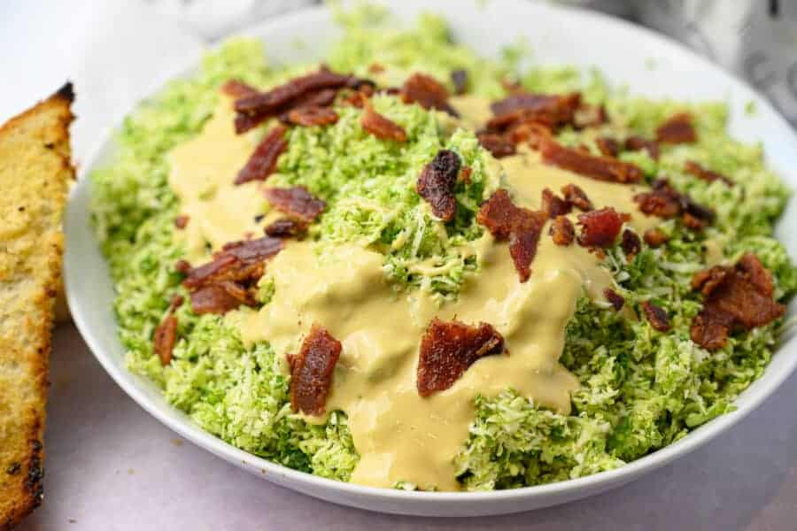 brussel sprout salad with bacon and garlic bread