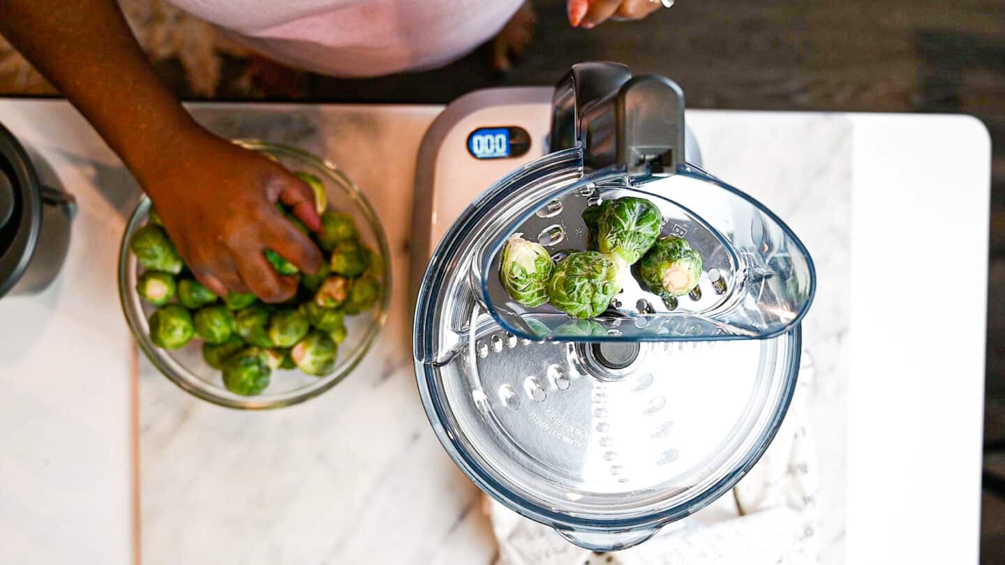 Shredding sprouts in food processor