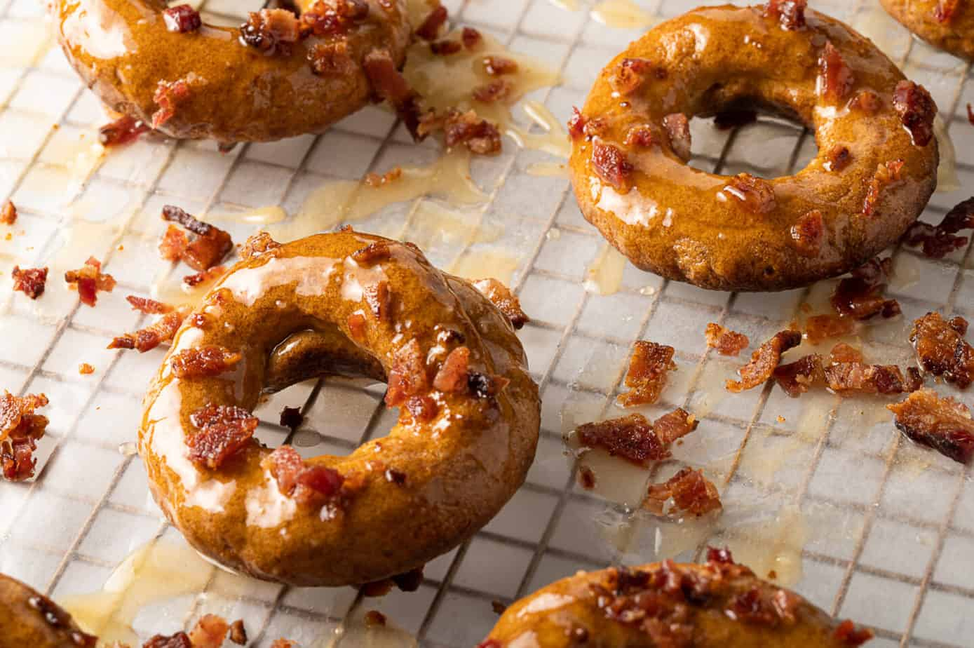 maple bacon donuts on wire rack
