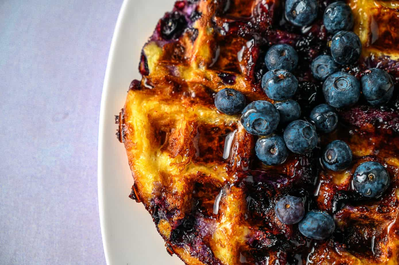 Blueberry chaffle on a plate.