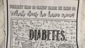 photo of coloring sheet with diabetes joke