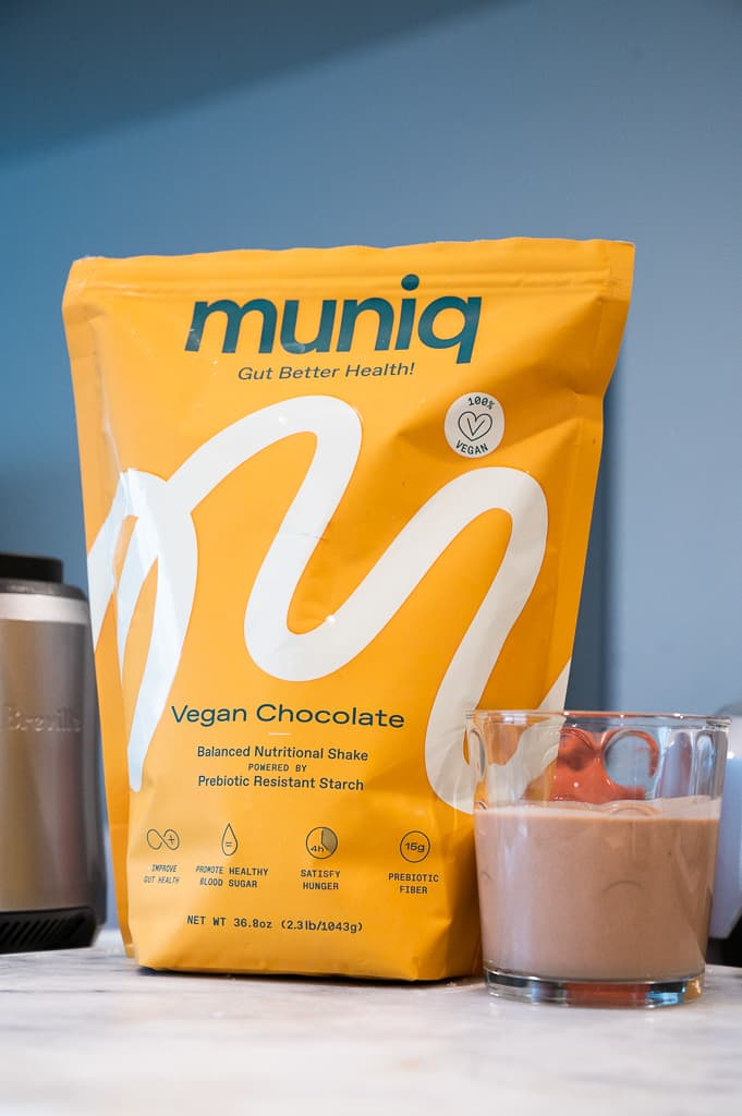 Muniq vegan chocolate on kitchen counter