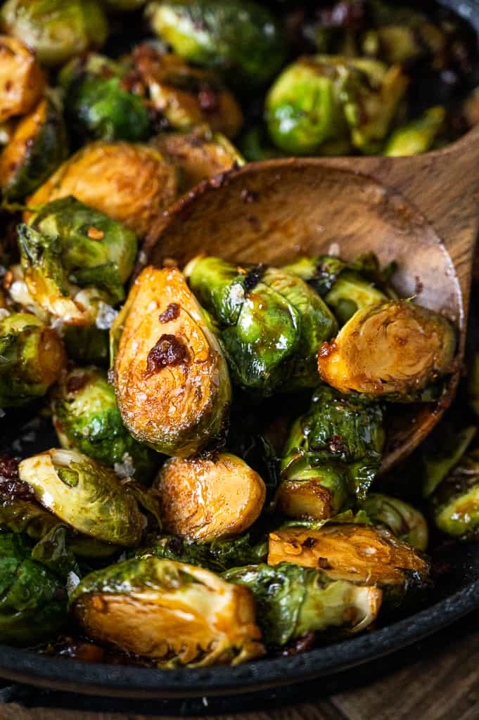 Gochujang brussels sprouts with pancetta in a pot