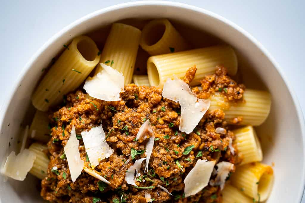 Rigatoni and meat sauce in a bowl