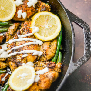 greek style chicken over head shot with green beans