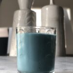 blue smoothie on counter top