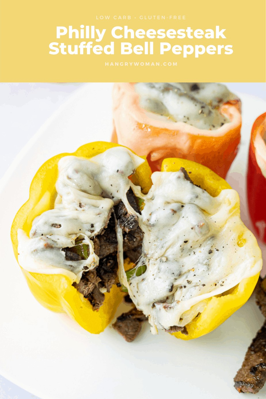 meat and cheese stuffed inside of a pepper.