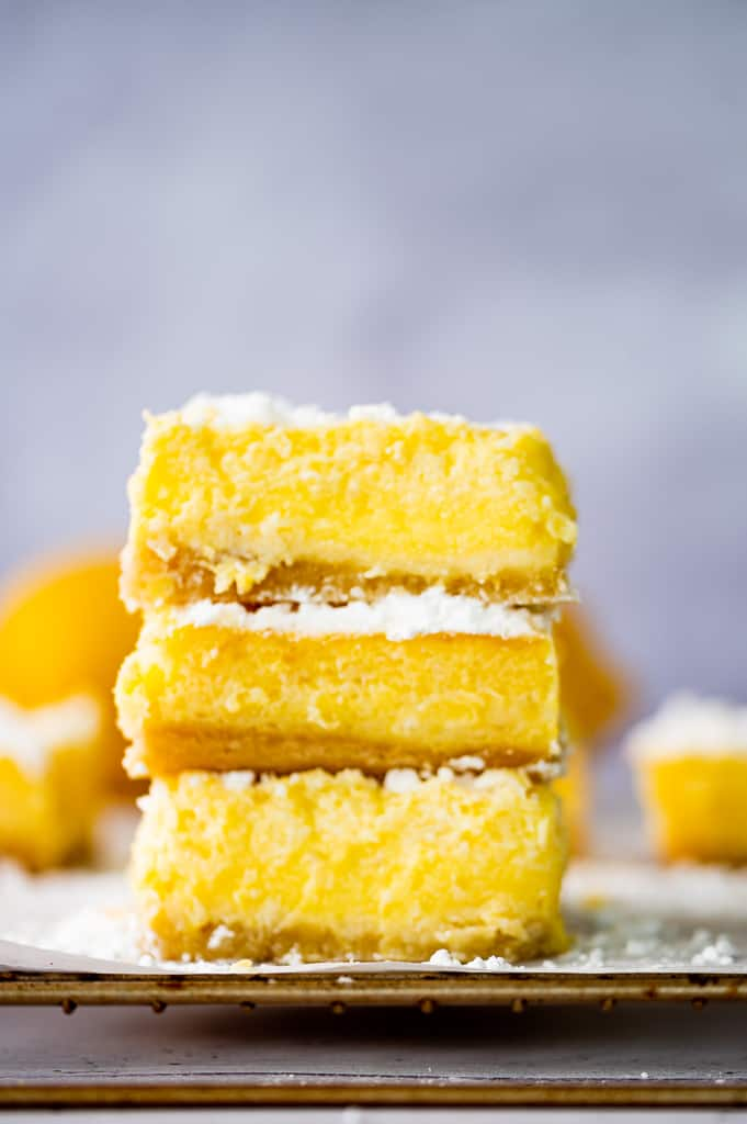 low carb lemon bars stacked front shot
