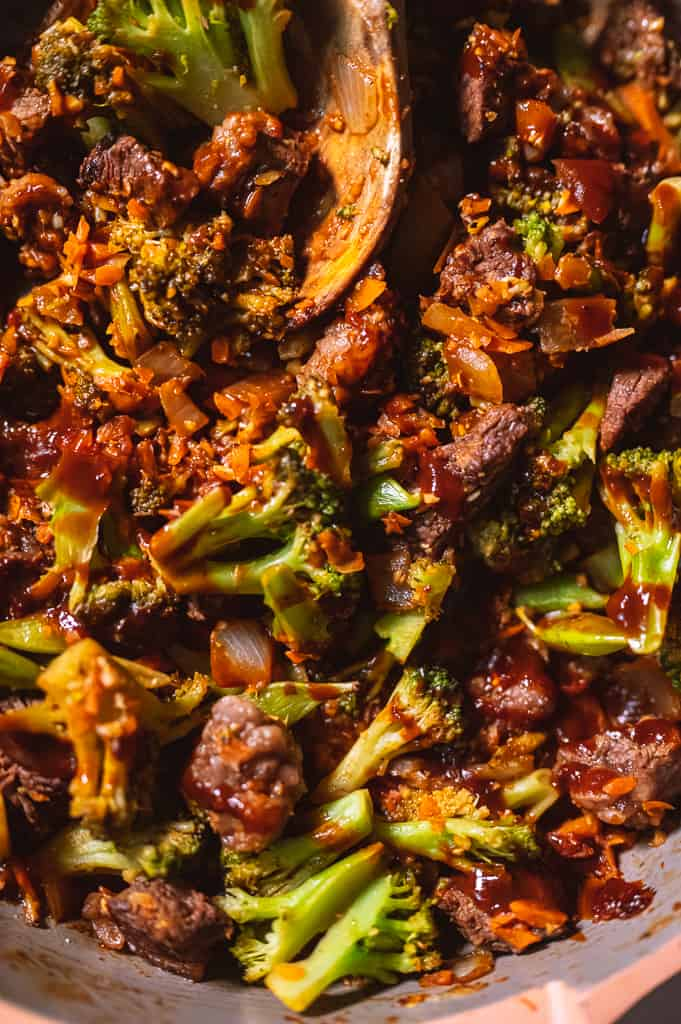 Low carb beef and broccoli close up