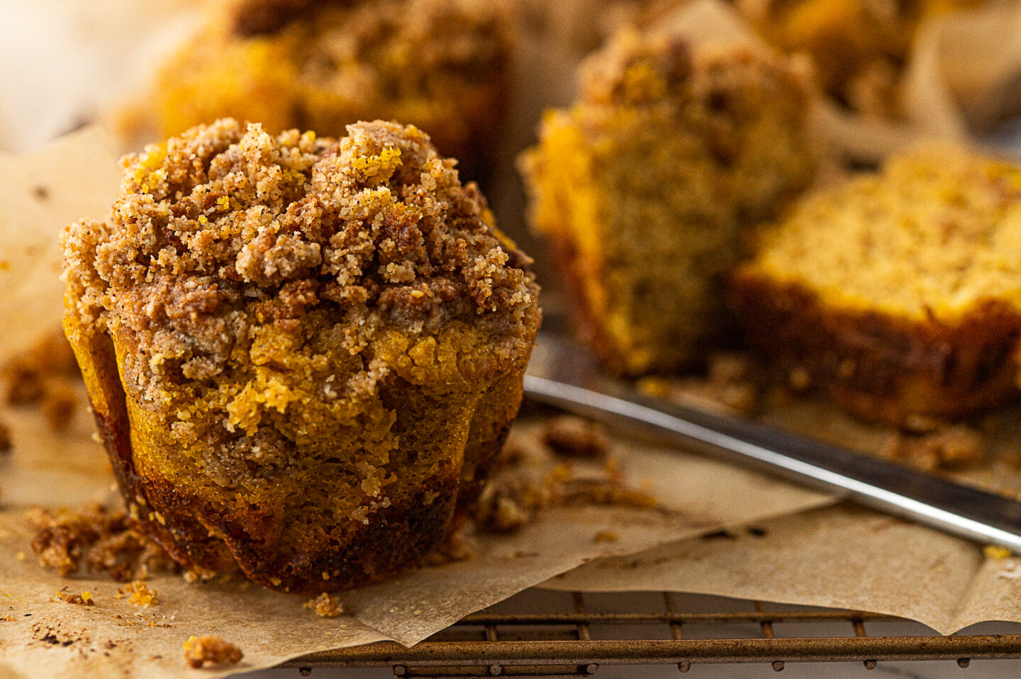 diabetes-friendly pumpkin muffins with crumble on top.