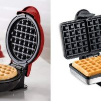 two waffle irons compared side-by-side