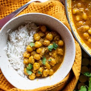 Vegan Chickpea Curry in a bowl with rice