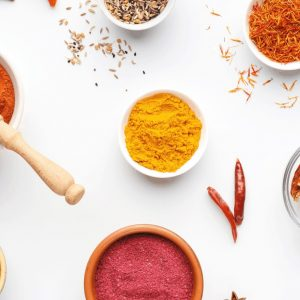 photo of spices from above.